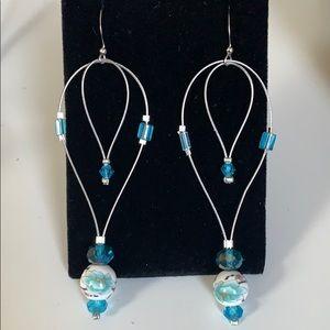 Handmade Beaded Earrings Blue Crystals